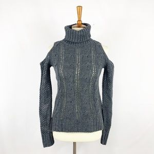 American Eagle Cable Knit Cold Shoulder Sweater
